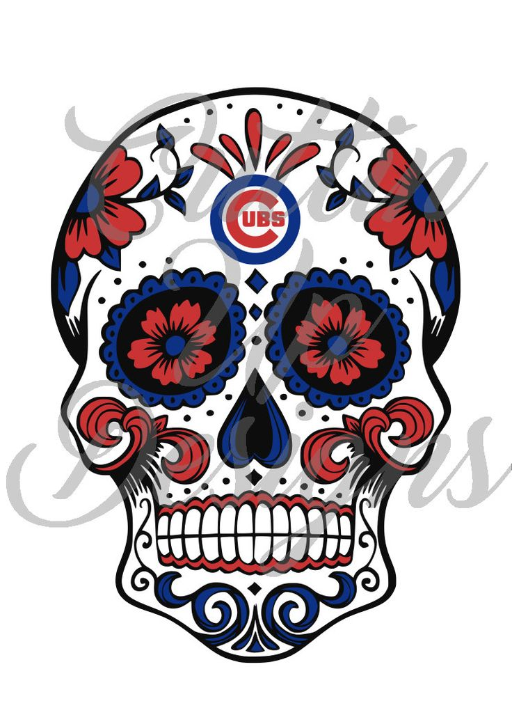 Chicago Cubs Baseball Sugar Skull Day of the Dead SVG Cutting File for Cricut or Cameo (Designer Edition required) Easy to cut. Easy layer by CuttinUpGifts on Etsy
