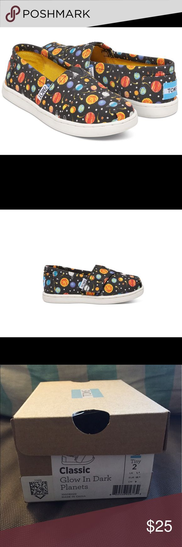 NWT Glow in the dark planets tiny Toms Brand New! Never worn, still in box with tags attached. The most adorable planet Tiny Toms. They are glow in the dark. Size 2. No longer available on Toms website, so get them here! 😊 TOMS Shoes Baby & Walker