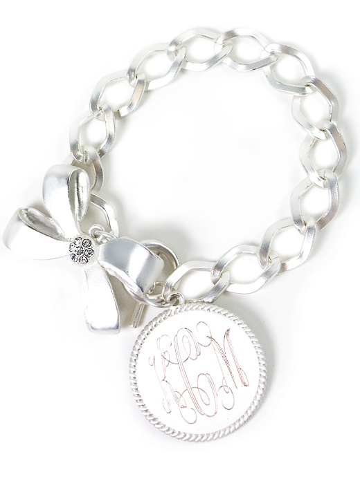 Check out our all new Bow & Disc Mongoram Bracelet (silver) - $28.00  Available in silver or gold.