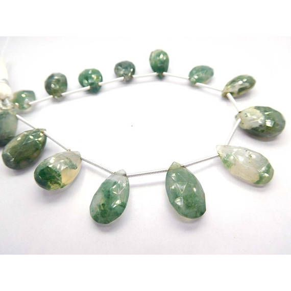 Gemstone beads for jewelry making 20Gm/14Beads Moss Agate Loose Gemstone 10X14-10X18 Mm Faceted Pears Briolette by BeadsncrystalsStudio https://www.etsy.com/listing/567910988/gemstone-beads-for-jewelry-making?ref=rss&utm_campaign=crowdfire&utm_content=crowdfire&utm_medium=social&utm_source=pinterest