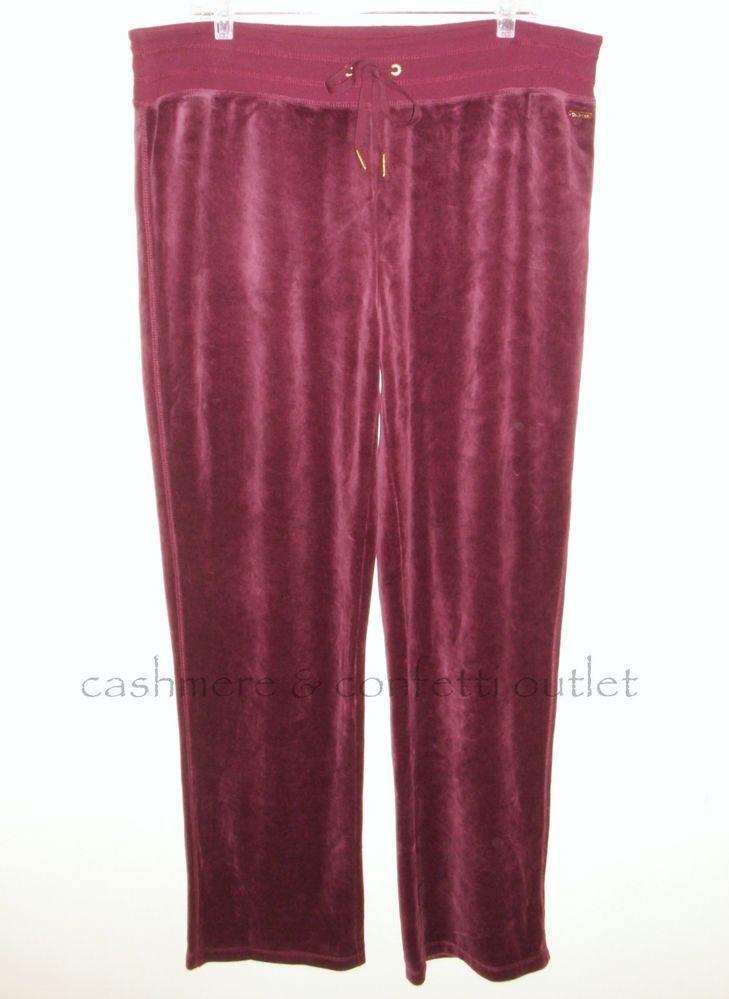 Calvin Klein NEW Velour Lounge Pants Casual XL Comfort Waist Burgundy X-Large #CalvinKlein #CasualPants