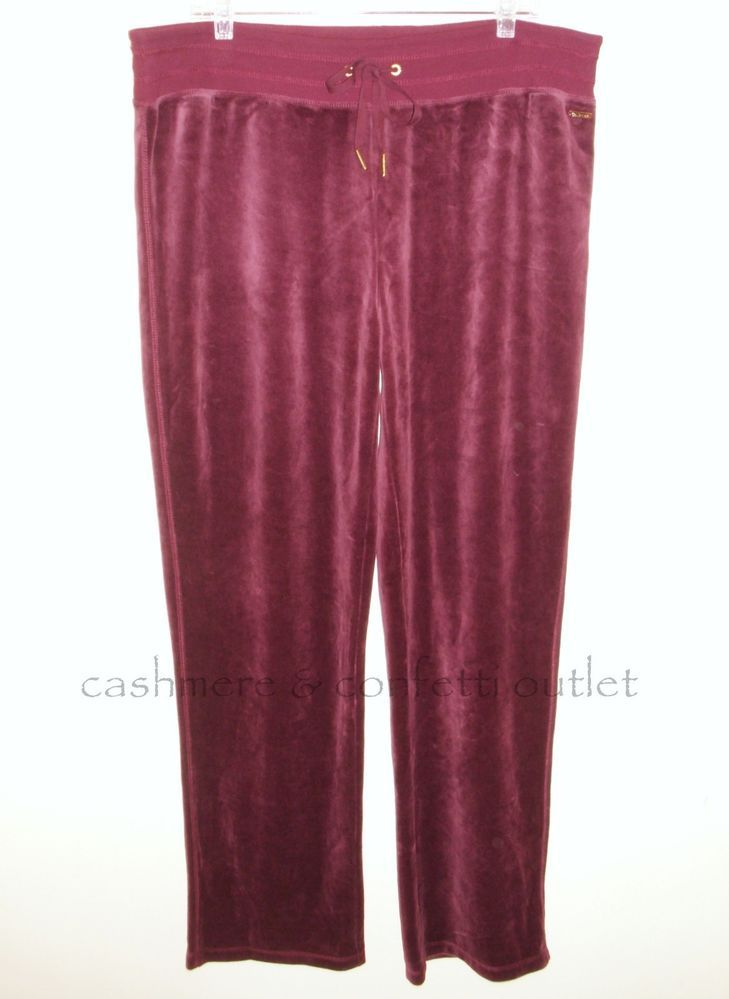 Calvin Klein NEW Velour Lounge Pants Casual XL Comfort Waist Burgundy X-Large #CalvinKlein #CasualPants