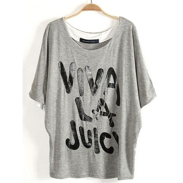 Grey Batwing Sleeve VIVALAJUICY Print T-Shirt ($22) ❤ liked on Polyvore featuring tops, t-shirts, gray top, bat sleeve tops, print t shirts, print tees and grey top