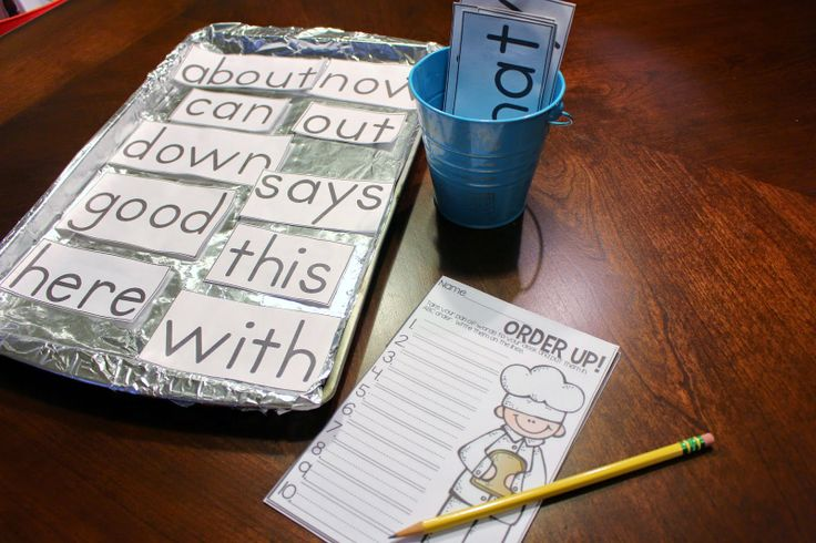word wall  Students pick 8 words and place them on the pan.  Then put them in ABC order to record!  10 center ideas in this post.