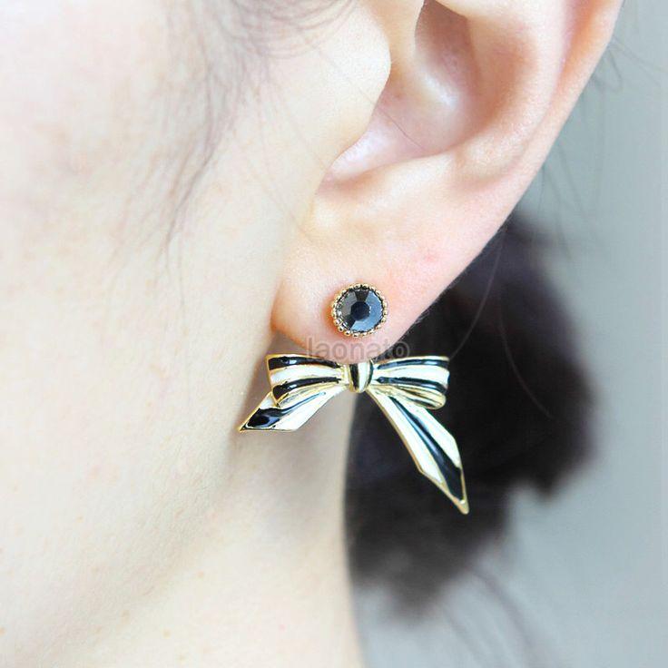 Black and White Bow Front Back Earrings/ ribbon earrings, ear jackets by laonato on Etsy https://www.etsy.com/listing/233251443/black-and-white-bow-front-back-earrings