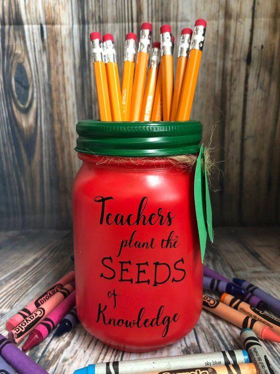 "Teacher Apple Pencil holder mason jar, pint size 16 oz "" teachers plant the seeds of knowledge "" teacher gift, end of year"