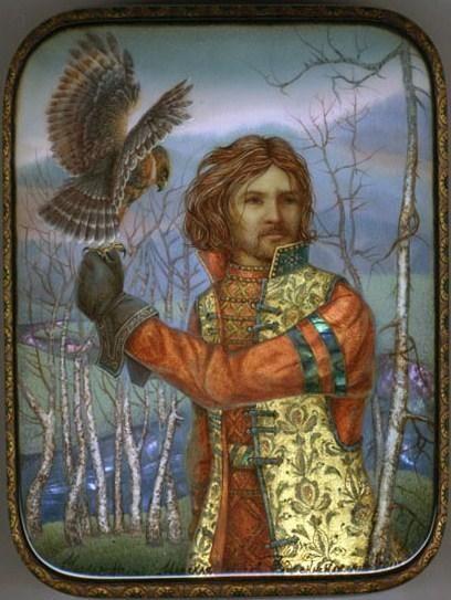 Alexey Chirkov, Fedoskino lacquer box, Tsar's hunting