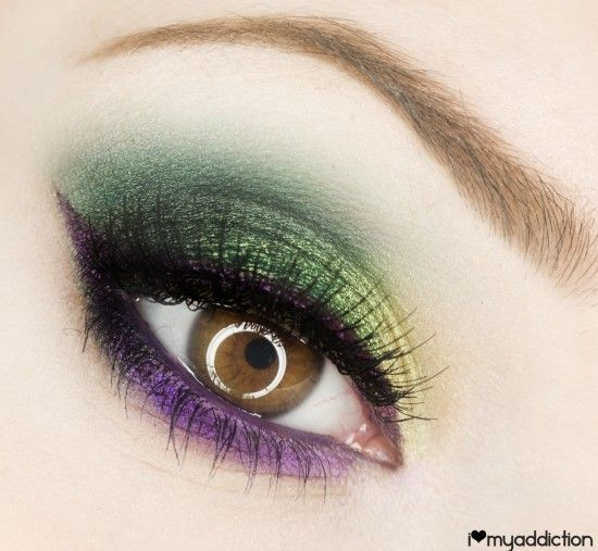 Mardi Gras eyes!!This would look great on green eyes too! Directions for achieving this look on website!