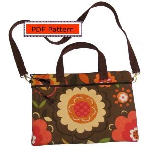 Download Laptop/Notebook Case with Zip Pocket, Handles and Shoulder Strap Sewing Pattern | Gail Seymour | YouCanMakeThis.com