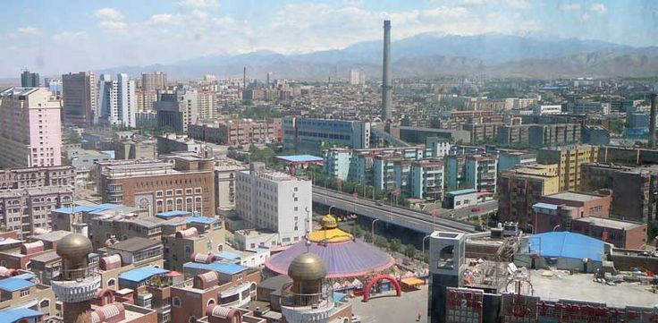 View of Urumqi from atop the Urumqi Viewing Tower. Urumqui is the capital of the Xinjiang Uyghur Autonomous Region of the People's Republic of China