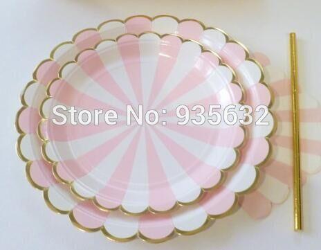 Посуда розовые полосы карнавал единорог принцесса Бумажные Тарелки и золотой…