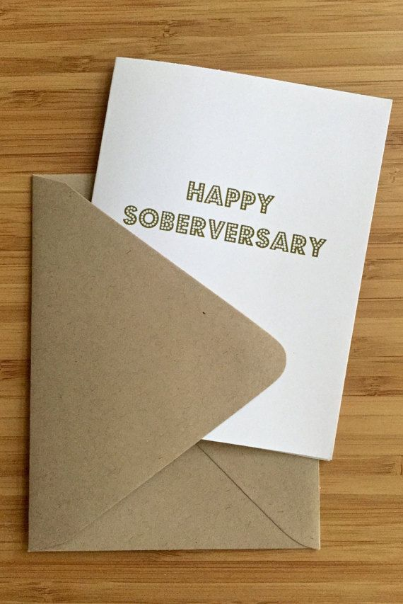 Sober Anniversary Card with gold letters. by CouldYouPlease