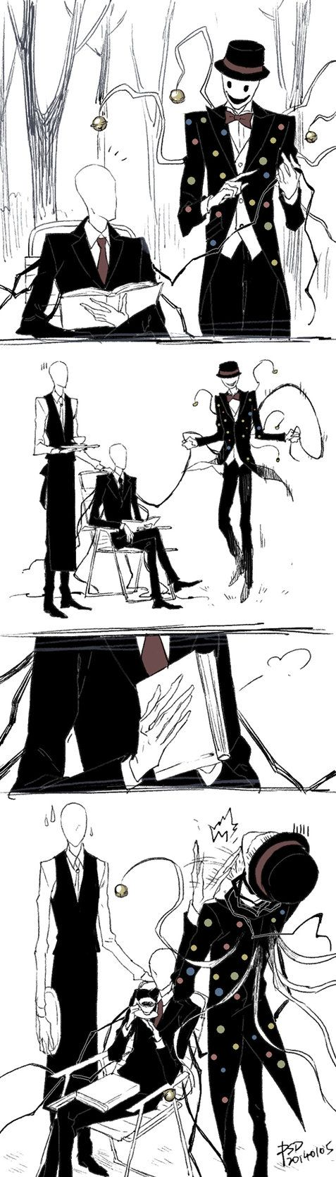 I love how Slender is casually drinking his tea while he's choking Splendy - kind of how my sister and I's relationship is ;) art by PSlenDy on deviantART