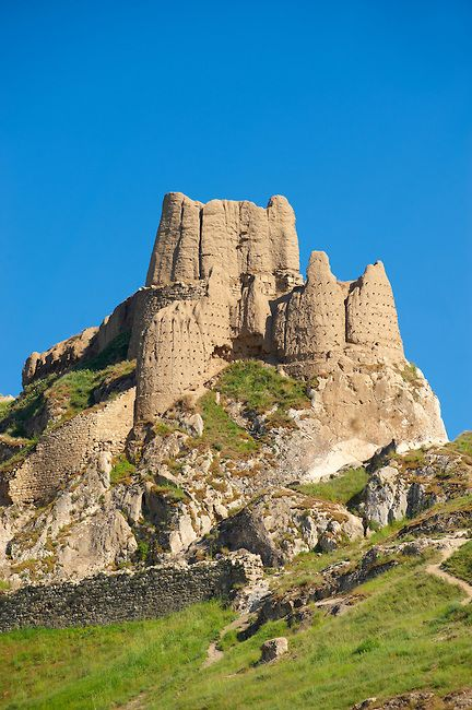 Citadel of Van.  Van, Turkey. Built in 800 bce by Sarduri I. Van was the capital of the kingdom of Urartu. Base was made of massive stone blocks, the superstructure was  made of mud bricks and the roofs were made of timber.