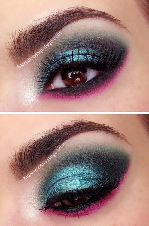 Eye. Makeup. Eye shadow. Socket. Smokey. Black. Blue. Pink. Eyeliner.
