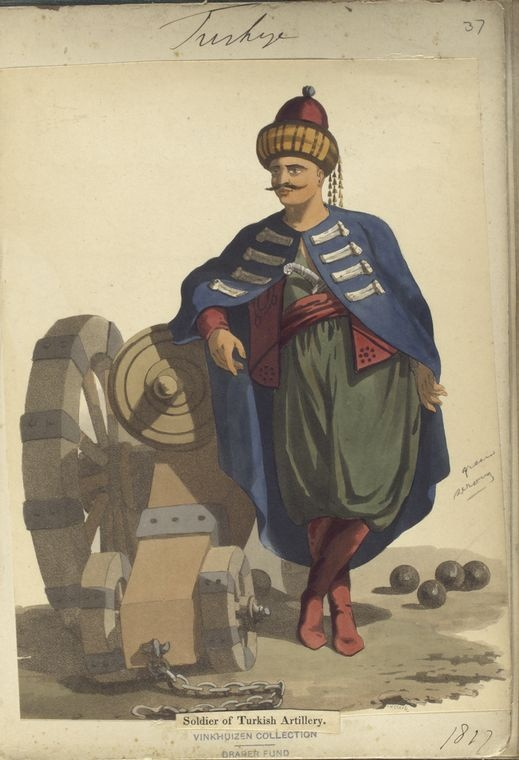 Turkish Artillery. The Vinkhuijzen collection of military uniforms / Turkey, 1818. See McLean's Turkish Army of 1810-1817.