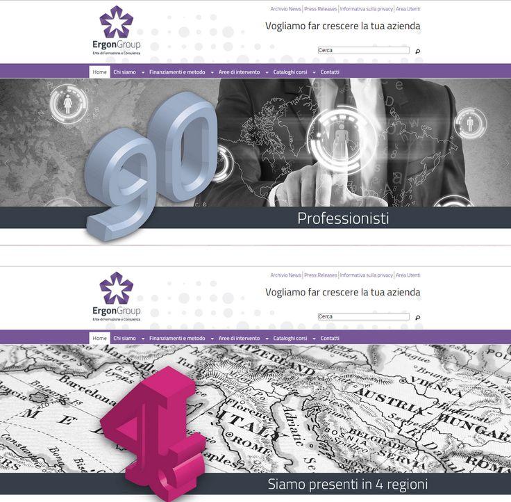 Due immagini della #homepage del #sitointernet per #ErgonGroup , azienda che fornisce servizi di #formazione per le aziende www.ergongroup.it