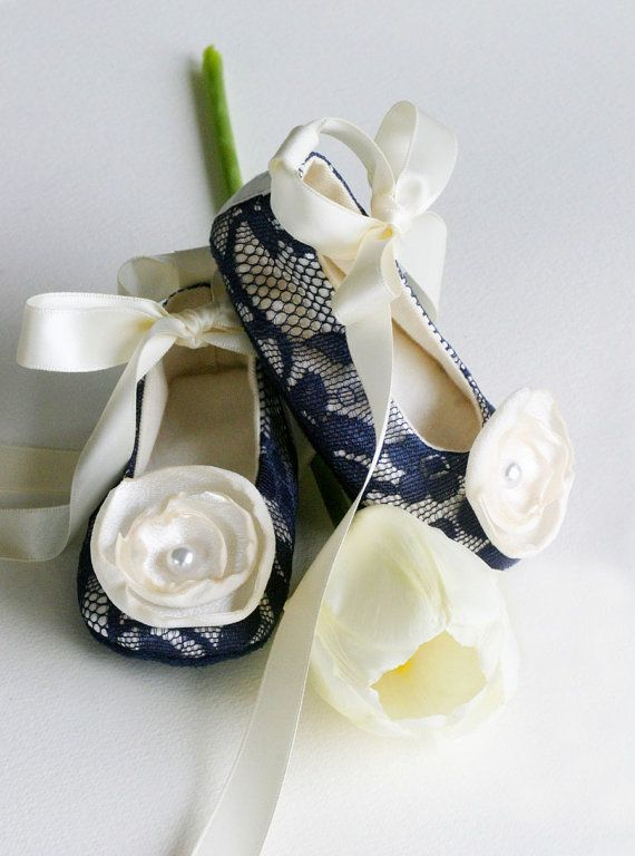 Baby & Toddler Shoe - 14 colors - Ballet Slipper, Ballet Flat - Navy Lace/ Ivory Satin, Flower Girl - Baby Souls Ballet Slippers on Etsy, $32.00
