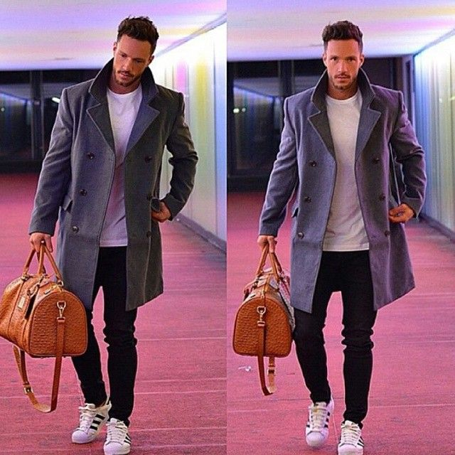 near_future_lifestyle #classy #outfit #grey #coat #black #skinny #trouser #white…