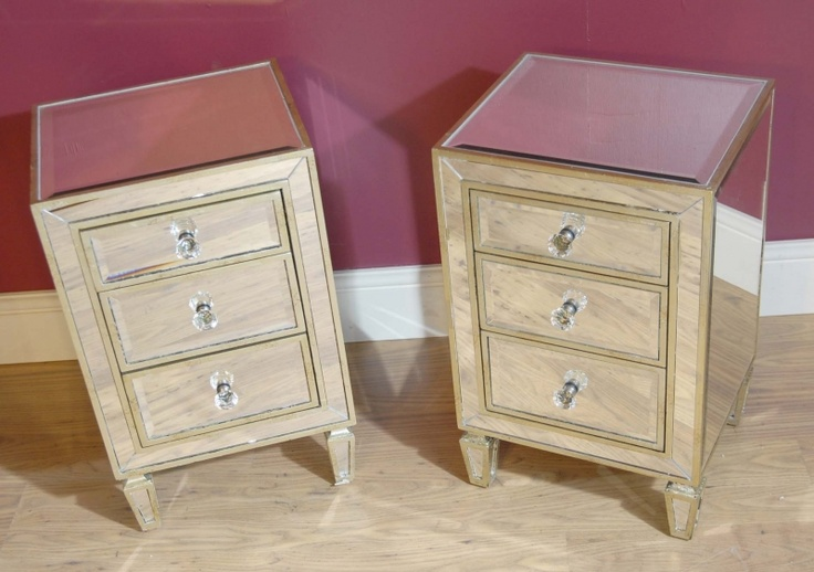 Pair Art Deco Mirrored Bedside Cabinets Chests Tables