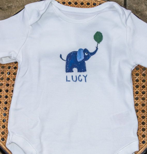 Handpainted personalised elephant babysuit by Meadowridgedesigns