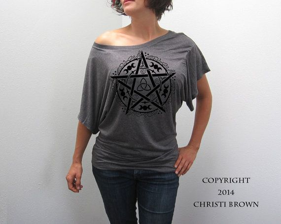 Pentagram T Shirt Women's Slouchy Modern Short by MerlynsDream