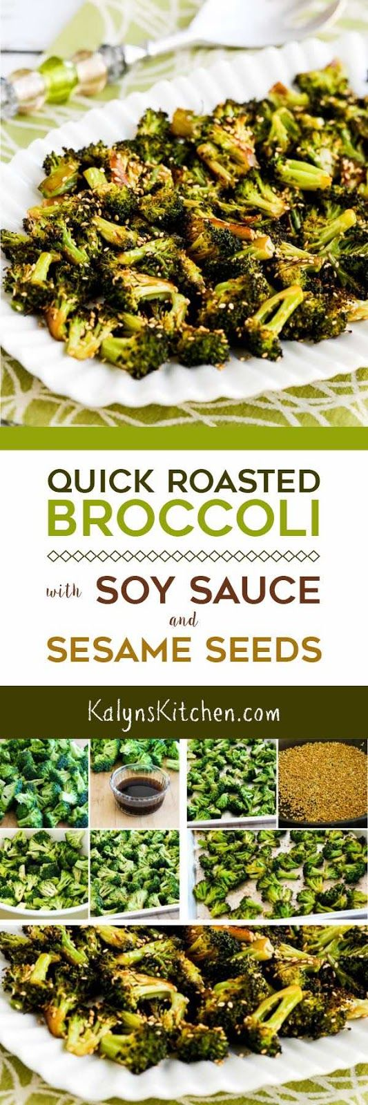 Unless you're a confirmed broccoli avoider, you MUST TRY this Quick Roasted Broccoli with Soy Sauce and Sesame Seeds; this recipe is amazing. And it's low-carb, dairy-free, gluten-free, vegan, and South Beach Diet friendly and if you sub the soy sauce for coconut aminos it can easily be Paleo or Whole 30, so you can make this for anyone. [found on KalynsKitchen.com] #BroccoliRecipe #LowCarb #GlutenFree #Keto #SouthBeachDiet #Vegan