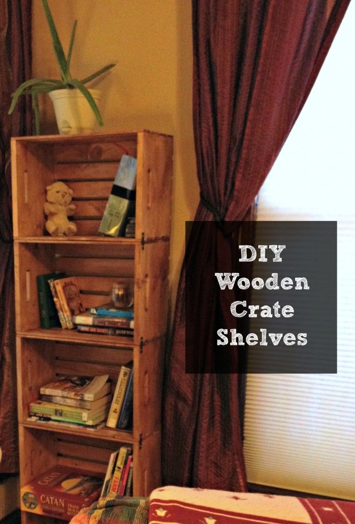 DIY Wooden Crate Bookshelves made with the new unfinished crates available at Walmart!
