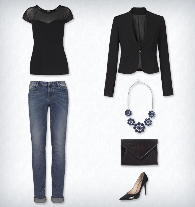 """Вечерний стиль. Элегантность черного цвета делает изысканным даже самую классическую модель джинсов - """"natural vintage blu"""". Простая и вместе с тем стильная футболка с вырезом в виде сердца на фоне круглого декольте из тюля, элегантный пиджак из крепа с застежкой на крючок. Темные тона предлагаются и для аксессуаров: пошетка-""""конверт"""", украшенная пайетками, колье в виде цветочного ожерелья, остроносые лакированные туфельки-лодочки. #Motivi #evening #summer"""