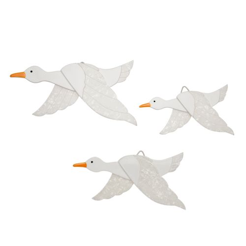 Limited edition, original Erstwilder Flying Ducks wall decor in white. Designed by Louisa Camille Melbourne. Buy now