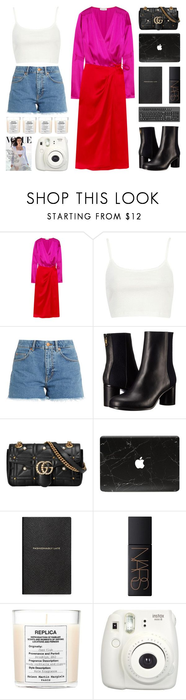 """""""Summer Trend : Wrap dress"""" by igedesubawa ❤ liked on Polyvore featuring Attico, River Island, M.i.h Jeans, Paul Smith, Gucci, Smythson, NARS Cosmetics, Maison Margiela, Fujifilm and contest"""