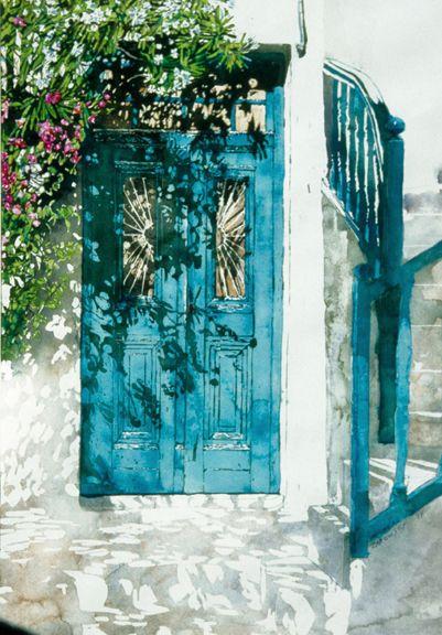 Verditer blue watercolor dress