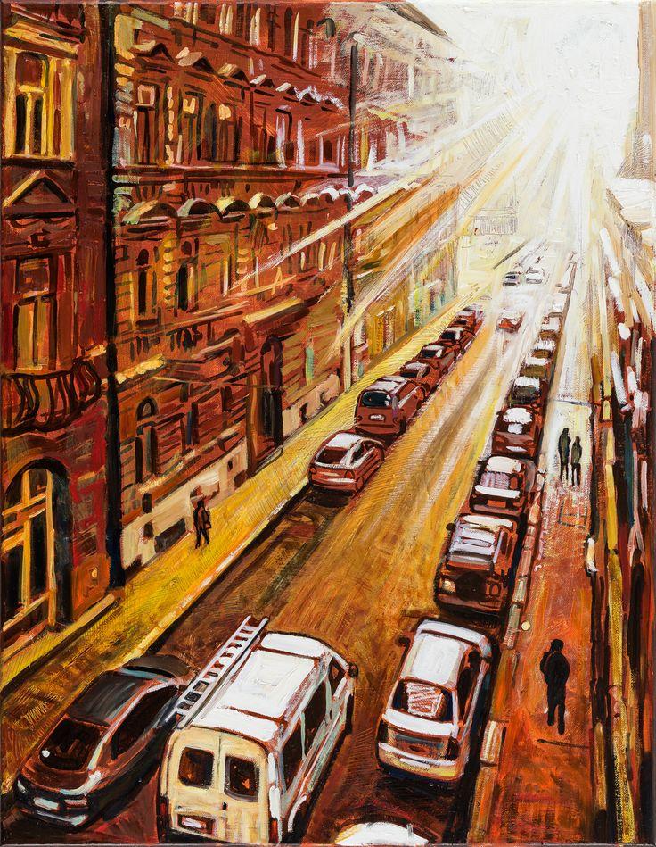 Létrás autó a fény felé  2015  -  olaj-vászo