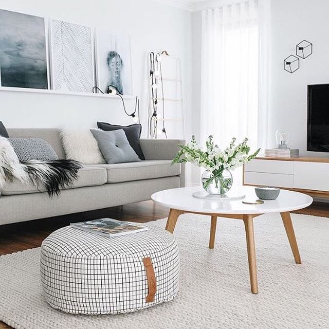 white grey and wood living room
