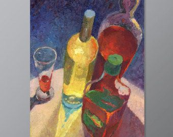 """DRINK STILL LIFE - Decor Wall Art Small painting - Colorful Kitchen Original Painting - Oil canvas Still life - 40x60 cm (15x23"""""""