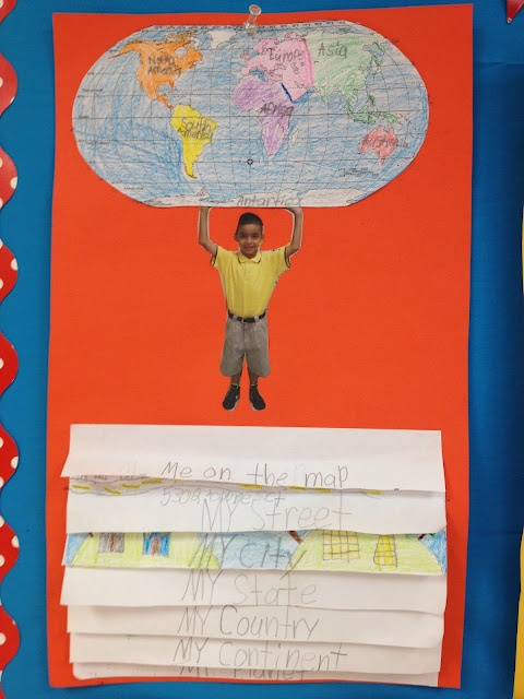 """""""Me on the Map"""". What an adorable activity for students to display in the classroom or hallway."""