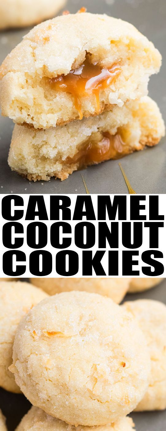 Quick and easy COCONUT COOKIES recipe, made with simple ingredients. These crispy, chewy coconut cookies with caramel center are great for cookie exchanges and the Christmas holiday season. {Ad} From cakewhiz.com