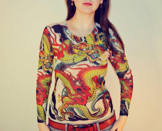 Tattoo T-Shirt Japanese YAKUZA Golden Kinryu Dragon Long Sleeved T-shirt Women Unisex (Free size S-XL) CS-08