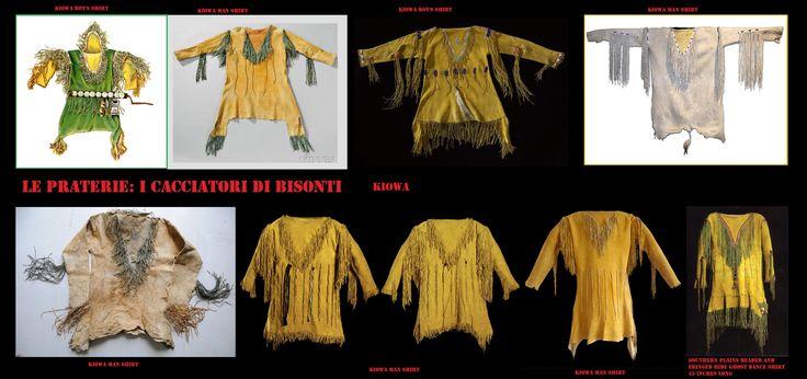 Gli uomini delle praterie meridionali, come i Kiowa, indossavano casacche aderenti di pelle, decorate più sobriamente, con frange lunghe e sottili, stretti bordi ricamati e piccoli cerchi.