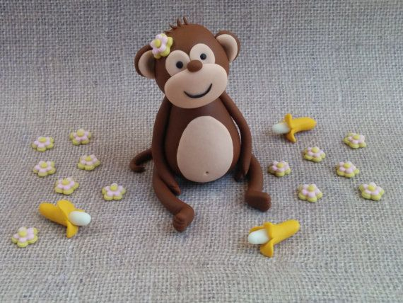 Fondant monkey Cake Topper by XbakesbyXimena on Etsy
