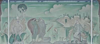 Παρθένης Κωνσταντίνος (1878/1879 - 1967) Τα αγαθά της συγκοινωνίας, π. 1925 Λάδι σε μουσαμά , 79 x 174 εκ. Αρ. έργου: Π.494