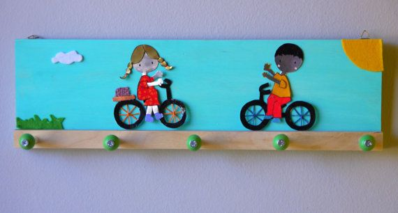 Veraman Boy and Girl riding Bicycles Clothes rack
