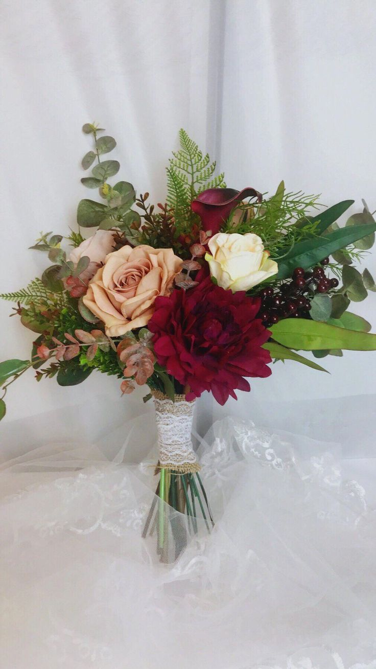 Excited to share the latest addition to my #etsy shop: Burgundy Wedding Bouquets, Winter Wedding Bouquet, Boho Bouquet, Bridal Bouquet, Artificial Flower
