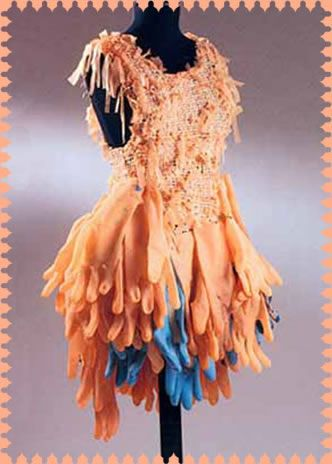 dress made from recycled rubber gloves