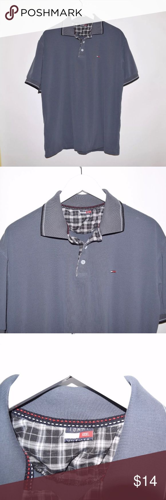 Rare Vintage Tommy Hilfiger Soft Polo Shirt XXXL Brand: Tommy Hilfiger Item name: Women's Vintage Plaid Soft Polo Shirt   Color: Dark Grey Condition: This is a pre-owned item. It is in excellent condition with no stains, rips, holes, etc.Comes from a smoke free household. Size: XXXL Measurements laying flat: Pit to pit - 23 inches Neckline to base - 28 inches Tommy Hilfiger Tops