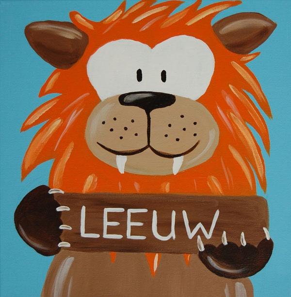 Beestenboel schilderij: Leeuw. Bestaat uit een serie van negen schilderijen 30cm bij 30cm. Stephanie Fiseler   Unieke, vrolijke, kleurrijke schilderijen voor baby- & kinderkamers