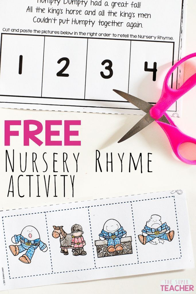 Here is a FREE Nursery Rhymes activity!  Practice story retelling skills in preschool or kindergarten with these nursery rhyme worksheets!