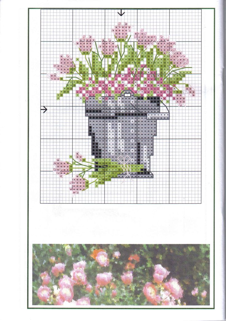 cross stitch pink tulips in a grey bucket