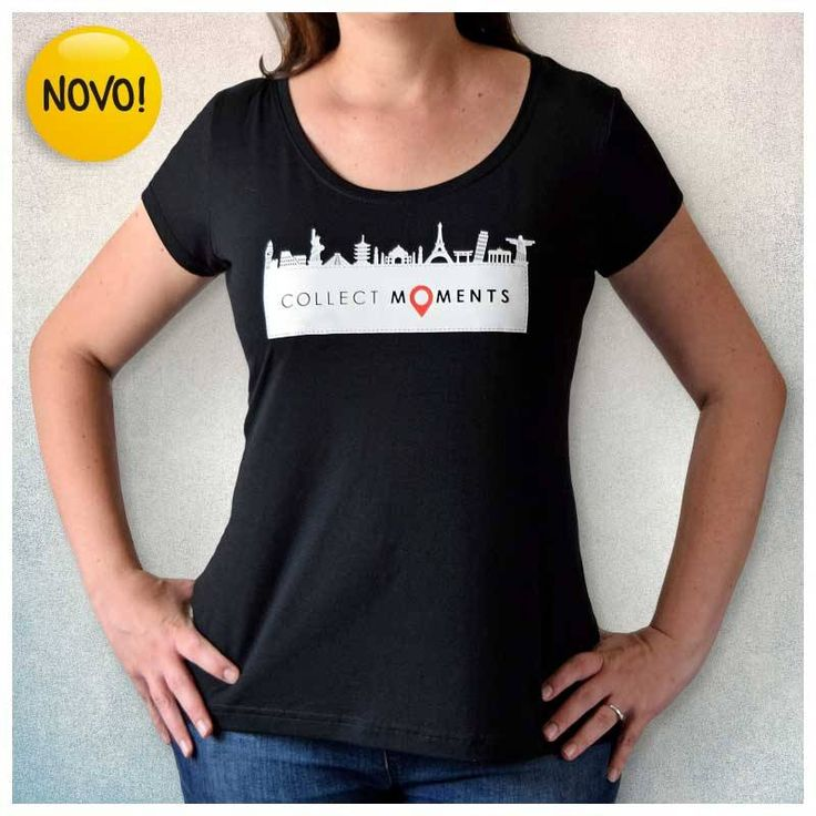 Camiseta Viajante Preta - Collect Moments - Ícones Turísticos CAM003