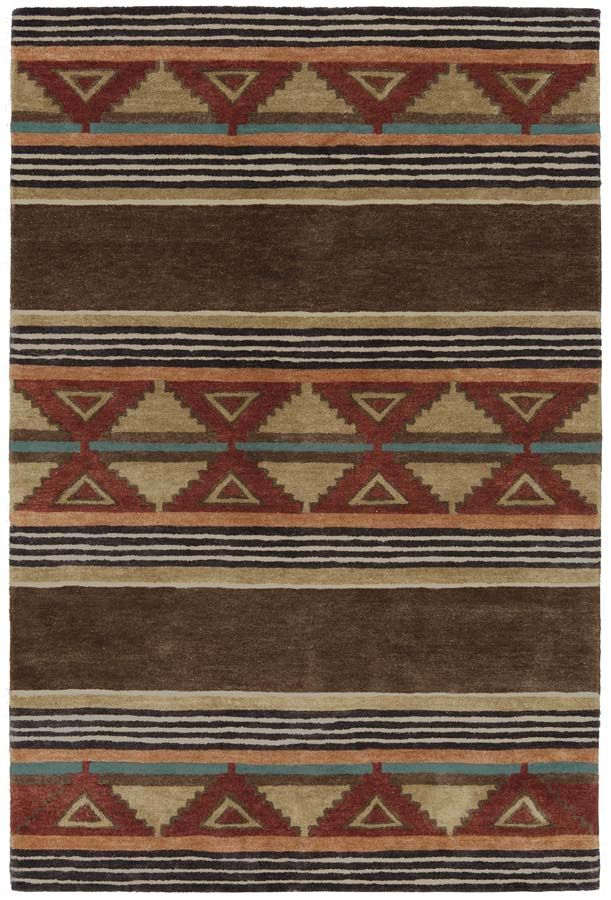 Taos Southwestern Rug Western Rugs - Inspired by Trade blankets, this rug is hand tufted using high quality New Zealand wool. The wool is inserted into a cotton fabric using a hand held yarn gun. The back is then latexed and a sturdy backing attached. The rug has a thick lush feel and beautiful colors.